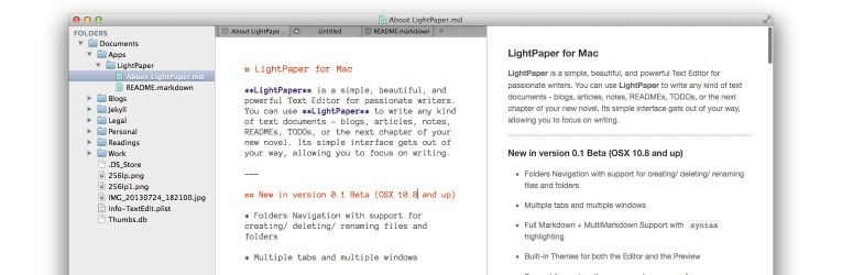 markdown editor LightPaper for Mac