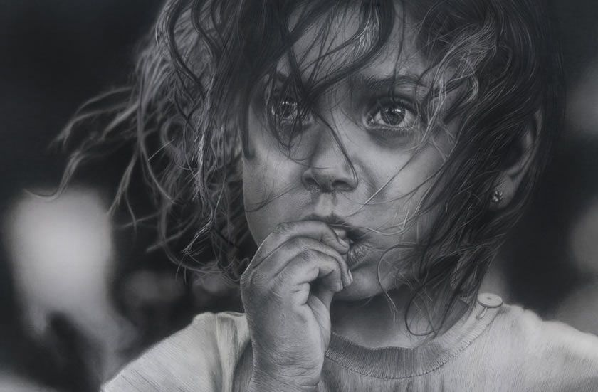 drawings portrait realistic pencil Girl