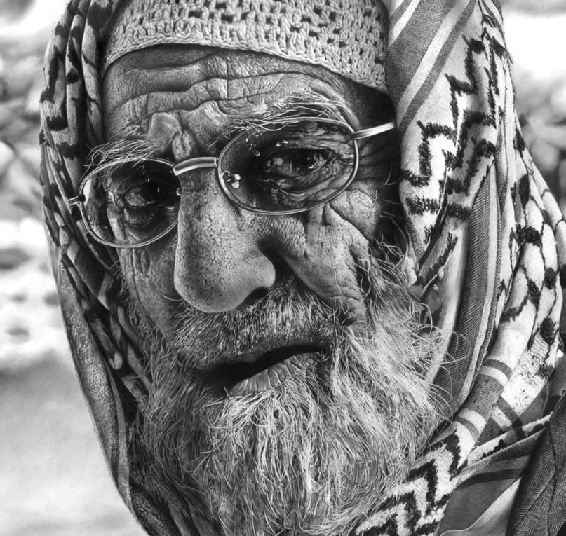 drawings portrait realistic pencil An Elderly Man