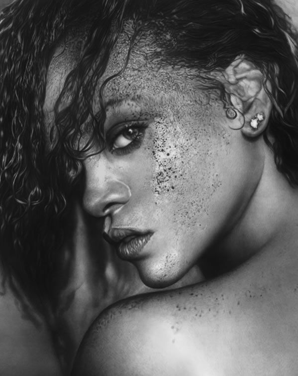 drawings portrait realistic pencil Rihanna