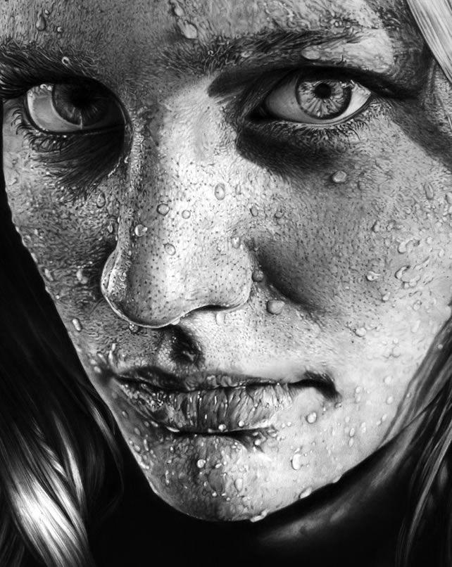 drawings portrait realistic pencil Blob on Face