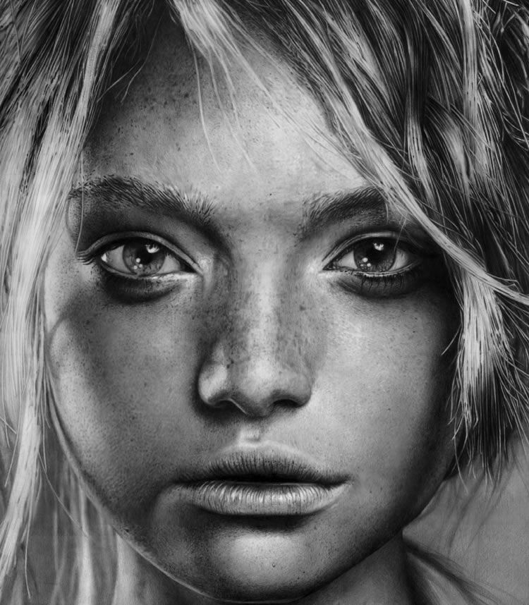 drawings portrait realistic pencil Gemma Ward