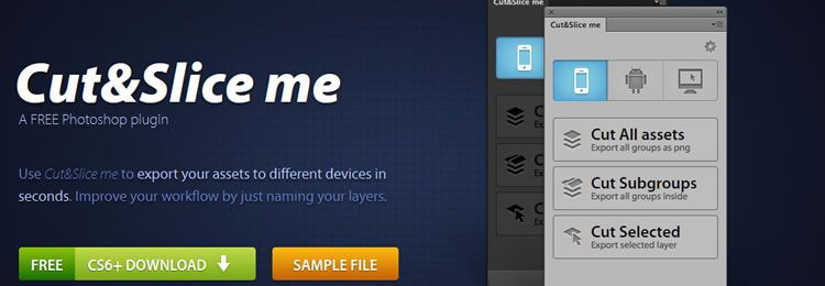 The photoshop extension Cut&Slice Me exports your assets to different devices within seconds