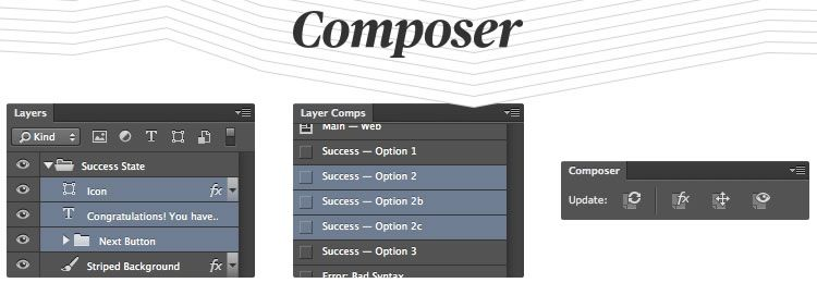 Composer is a Photoshop plugin that lets you update multiple layer comps in few easy steps