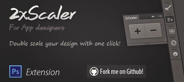 2xScaler double scales your designs with one easy click extension plugin Photoshop