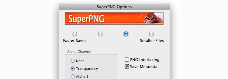 SuperPNG is a Photoshop plugin that offers additional options for saving PNG files