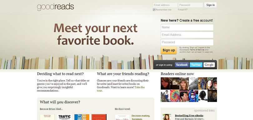 Screenshot of Goodreads homepage
