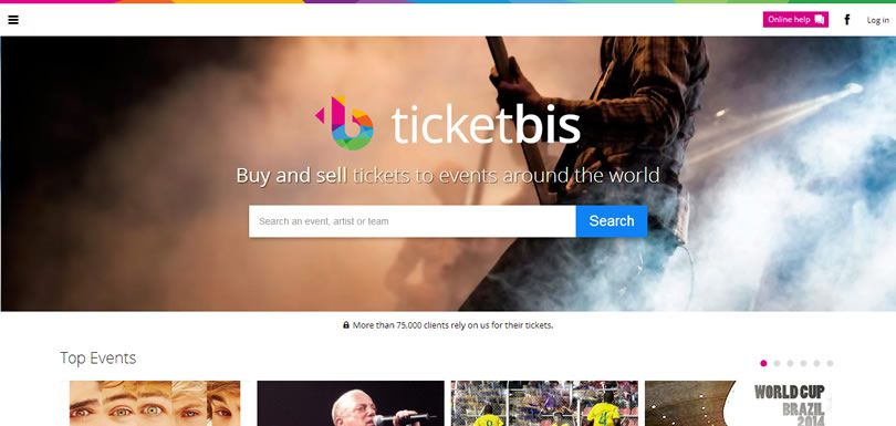 Screenshot of Ticketbis homepage