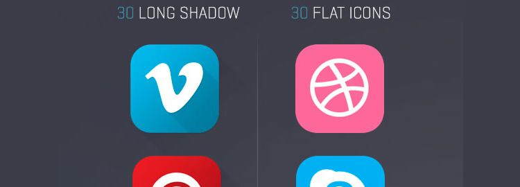 Flat and Long Shadow Social Media Icons 60 Icons PSD PNG designers freebies