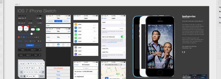 iOS7 iPhone GUI Sketch designers freebies