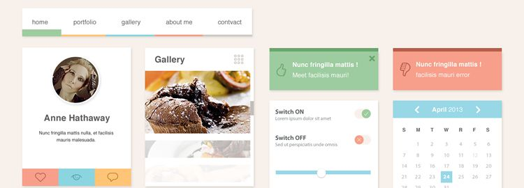 The Ero Widget UI Kit PSD designers freebies