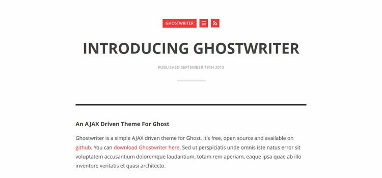 Ghostwriter theme ghost free
