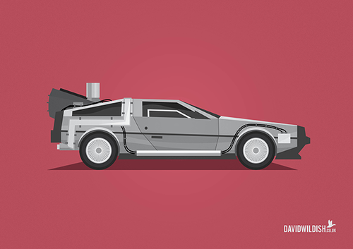 cars iconic tv movie illustration The DeLorean from Back to the Future