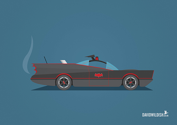 cars iconic tv movie illustration The Batmobile from TV Batman
