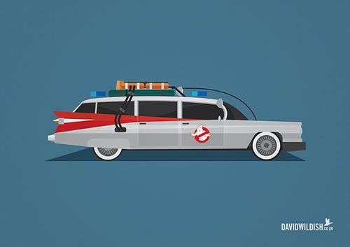 cars iconic tv movie illustration Ecto-1 from Ghostbusters