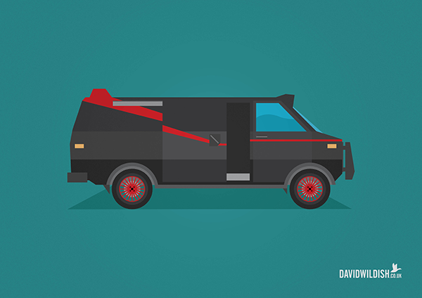 cars iconic tv movie illustration GMC Vandura from The A-Team