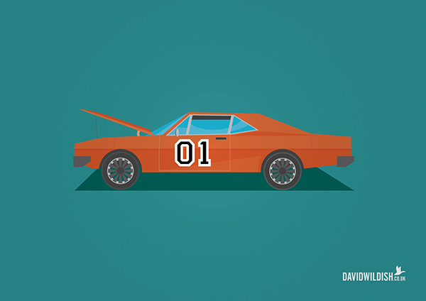 cars iconic tv movie illustration The General Lee from The Dukes of Hazard