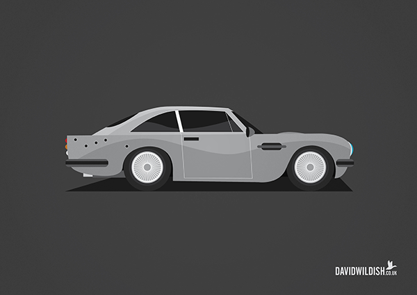 cars iconic tv movie illustration Aston martin from James Bond