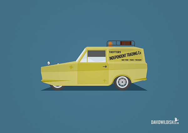 cars iconic tv movie illustration Robin Reliant from Only Fools & Horses