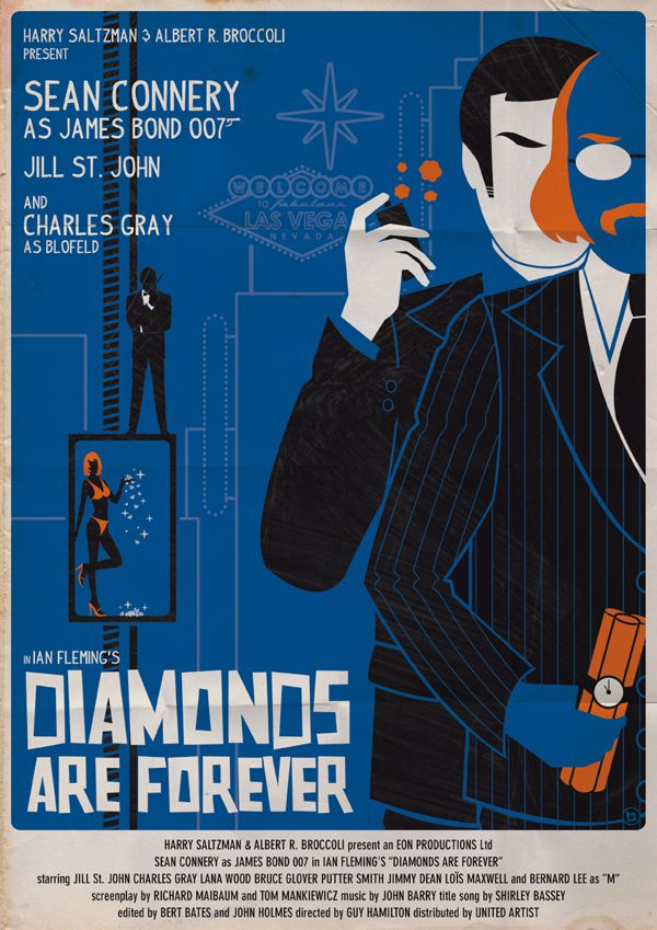 james bond vintage fan art illustrations Diamonds are Forever