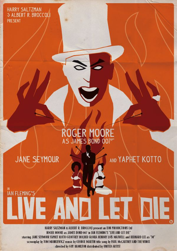 james bond vintage fan art illustrations Live and Let Die
