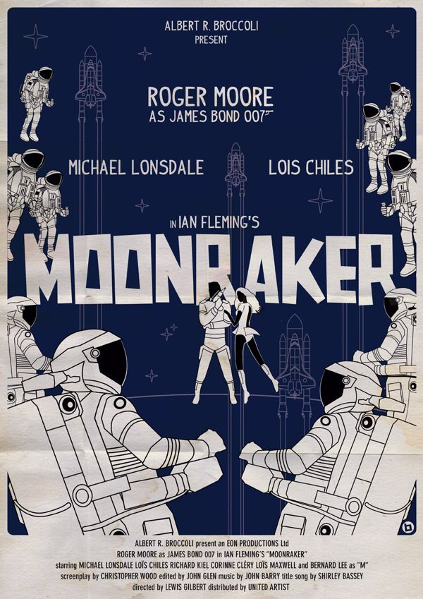 james bond vintage fan art illustrations Moonraker