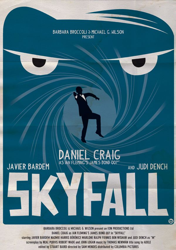 james bond vintage fan art illustrations Skyfall