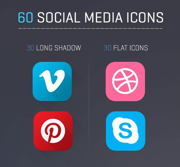flat and long shadow Social Media Icons Freebie Preview