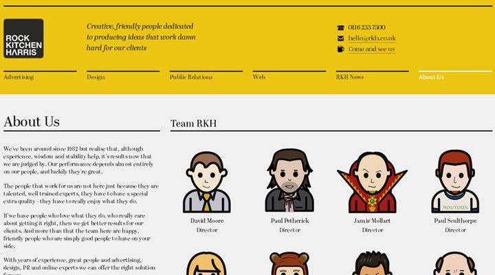 yellow team webpage layout rock kitchen harris