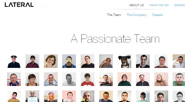 lateral team website layout design inspiration