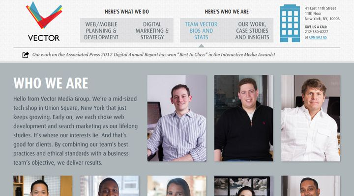 vector media design webpage layout team members