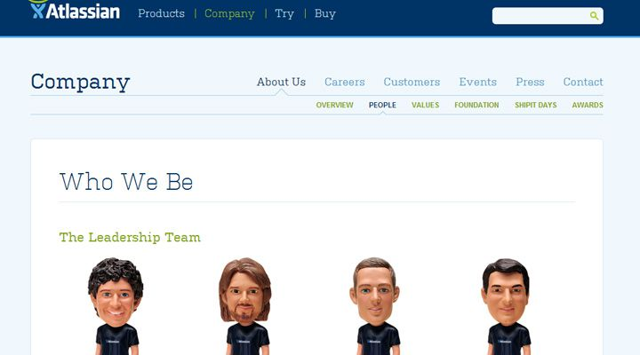 atlassian software development team members employees website lising example
