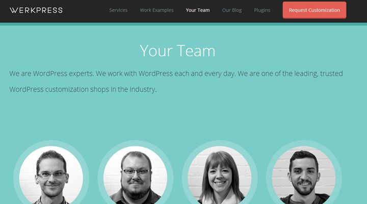 werkpress website layout team members design inspiration