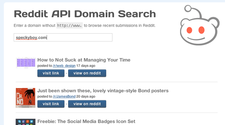 reddit json api domain search custom tutorial screenshot