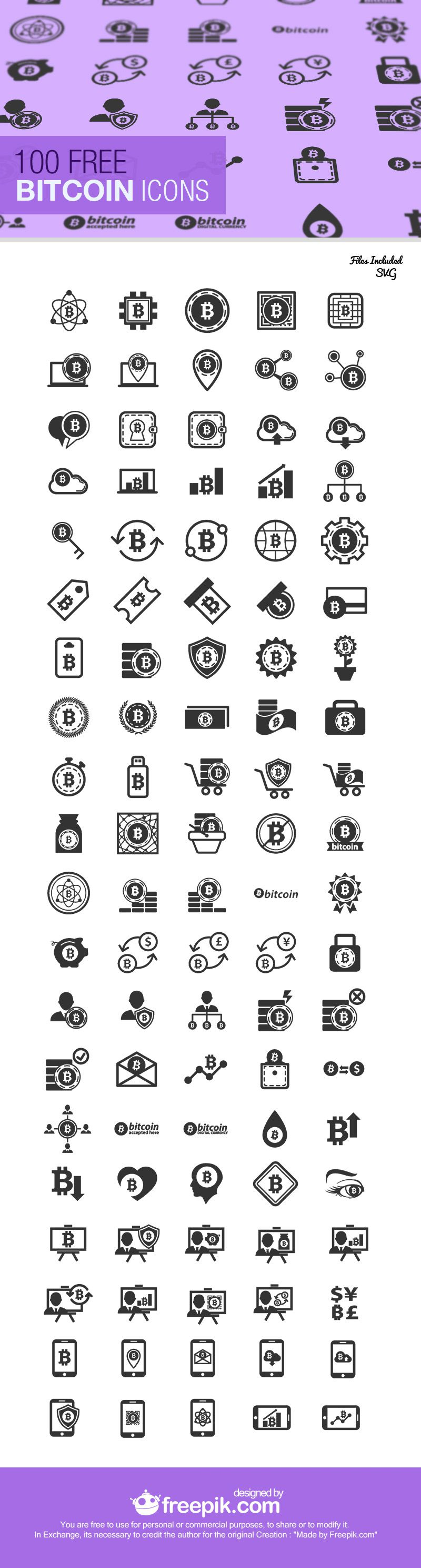 Free Bitcoin Icon Set svg jpg formats Preview