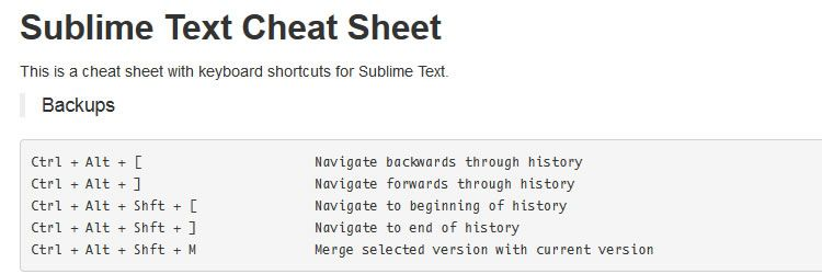 Sublime Text Cheat Sheet - Weekly Design News