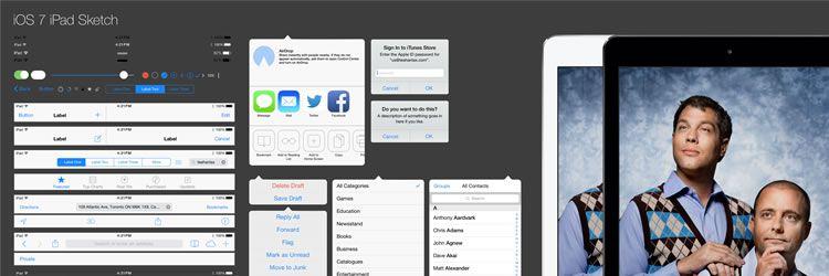 iPad iOS7 Kit sketch - Weekly Design News