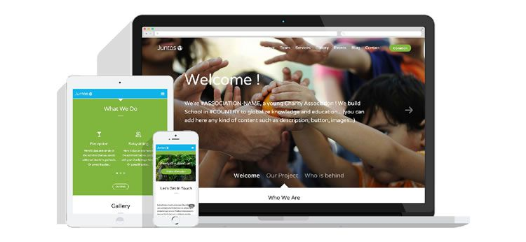 Juntos - One Page Template for Charities - Weekly Design News