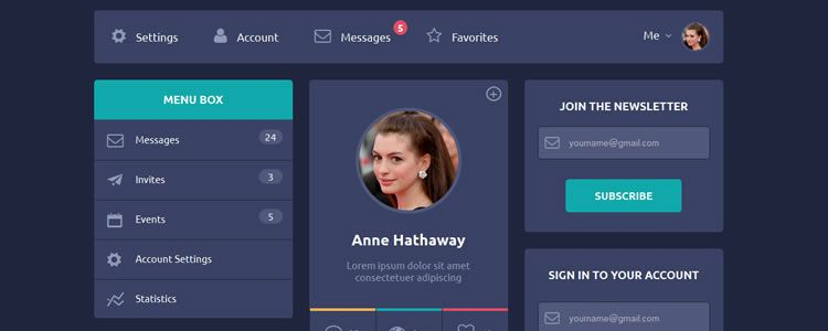 Interactive Flat Design UI designers freebies