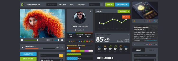 Combination UI Pack PSD freebies designers