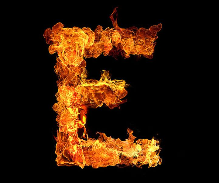 Inferno Typography Fire Typography 2014 Series fullsize letter e