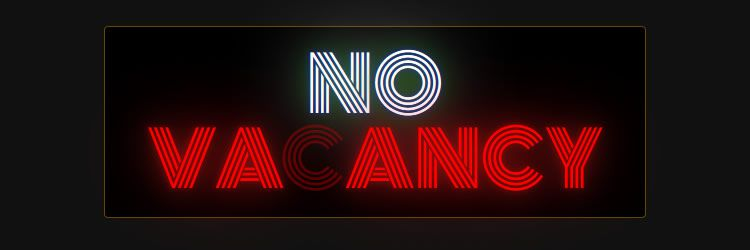 simple novacancy.js plugin text amazing text neon golden effect