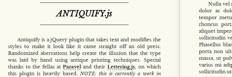 Antiquify.js will antiquify your text jQuery Typography Text Plugins