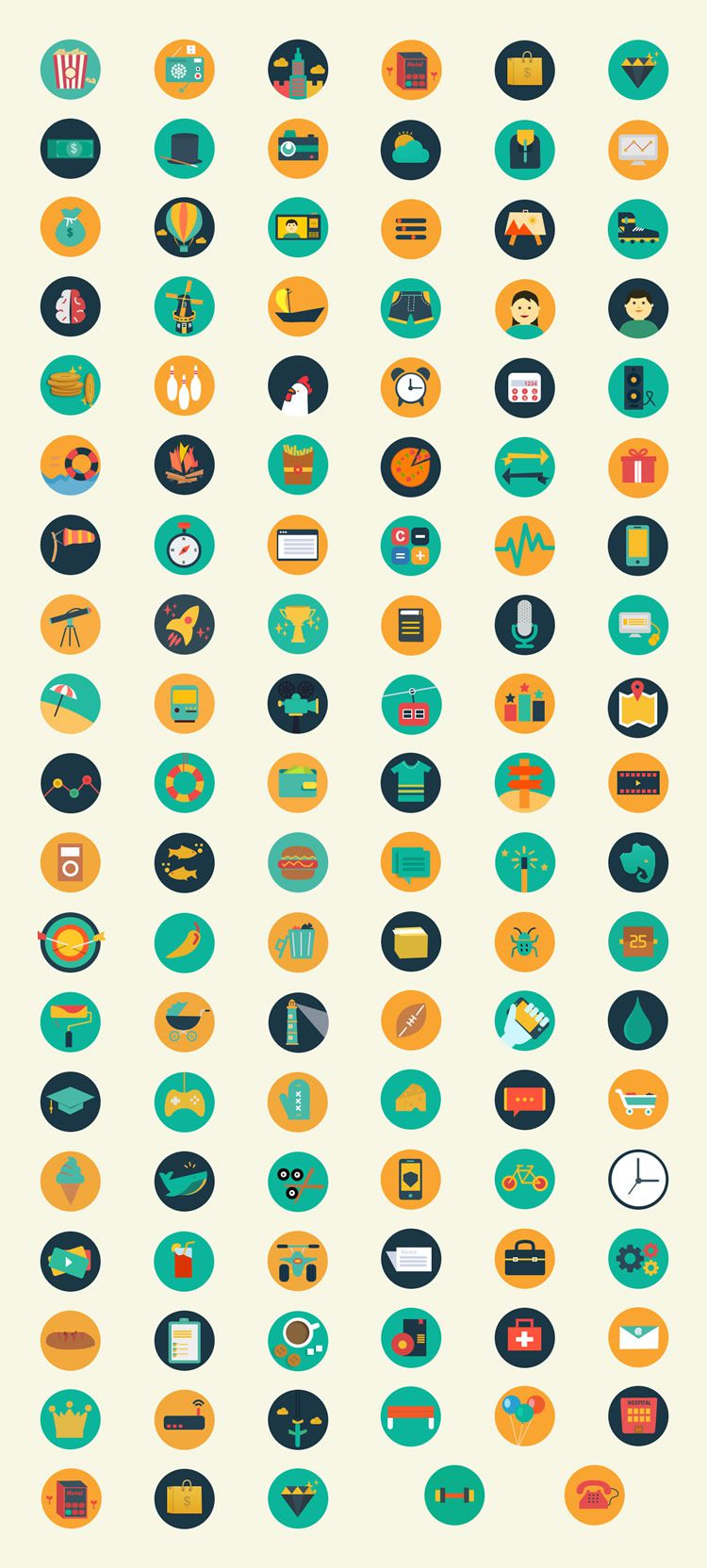 Meroo Flat-Styled Icon Set Small Preview