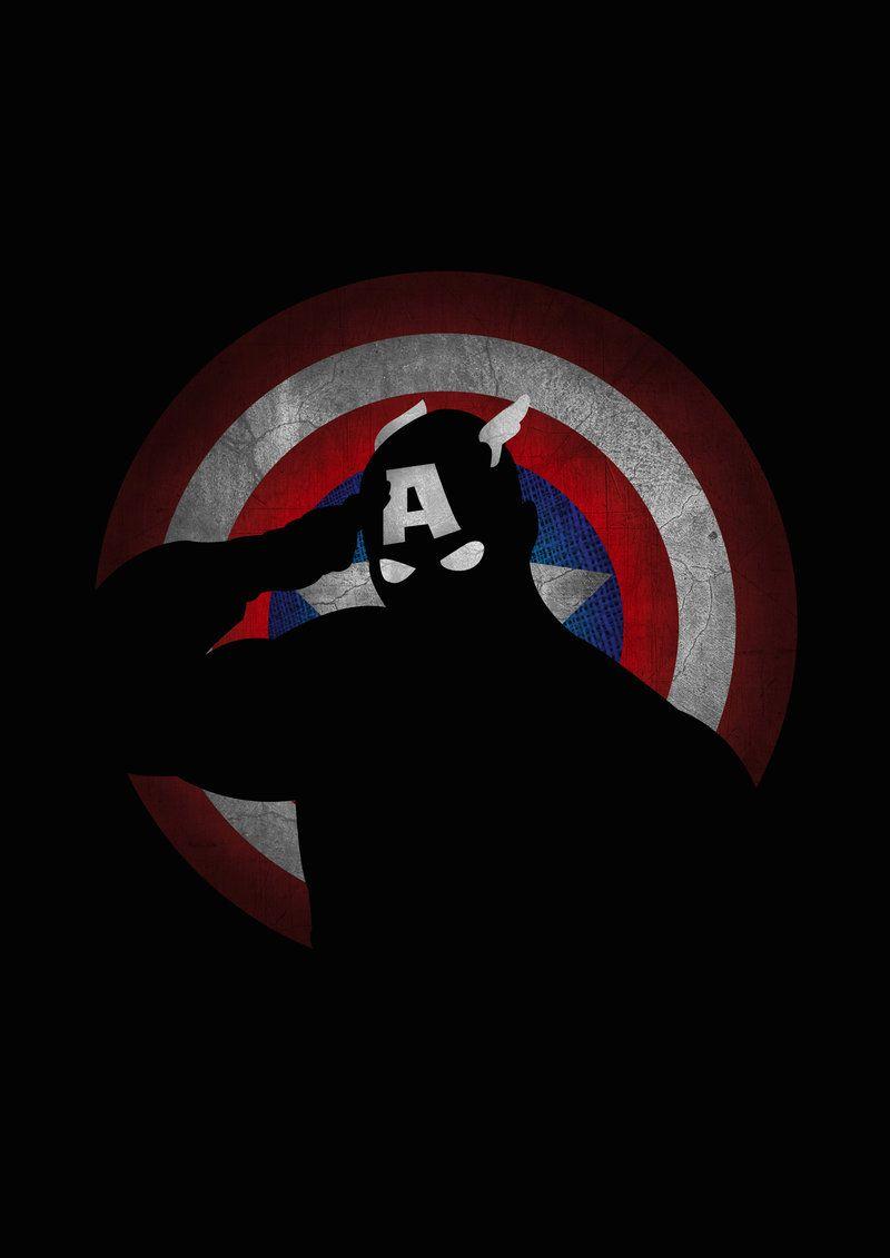Captain America superhero flat minimal poster