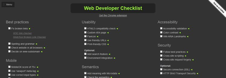 A handy web developer checklist - Web based small tiny app