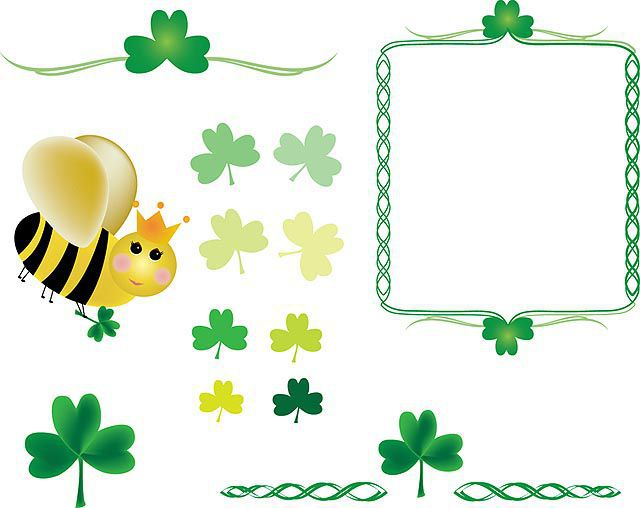 Shamrocks and Queen Bee fresh best free vector packs kits