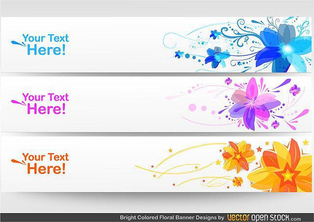 Floral Banner Set fresh best free vector packs kits