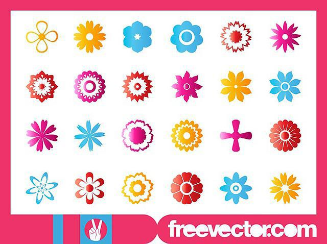 Flower Blossoms Icon Set fresh best free vector packs kits