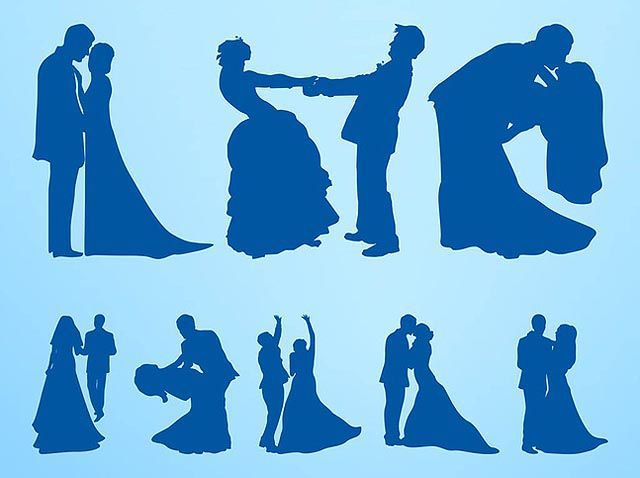 Marriage Silhouettes Setfresh best free vector packs kits